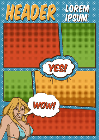 Colorful Blank Comics Template With The Smiling Girl