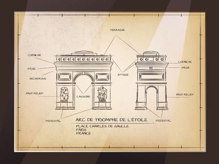 Arc de Triomphe: Old Style Architectural Technical Drawing of Arc De Triomphe, Paris Illustration