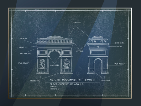 Old style architectural technical drawing of arc de triomphe old style architectural blueprint technical drawing of arc de triomphe paris vector malvernweather Images