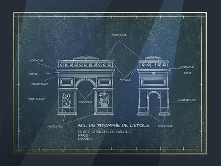 Old Style Architectural Blueprint Technical Drawing of Arc De Triomphe, Paris Illustration