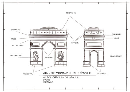 Old Style Architectural Technical Drawing of Arc De Triomphe, Paris Illustration