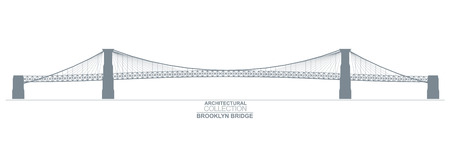 new york silhouette: Architectural Collection. Brooklyn Bridge, New York Silhouette