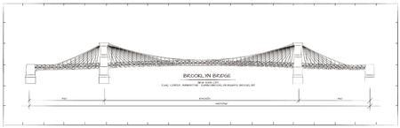 brooklyn bridge: Architectural Technical Drawing. Brooklyn Bridge, New York Illustration