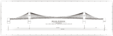 Architectural Technical Drawing. Brooklyn Bridge, New York Illustration