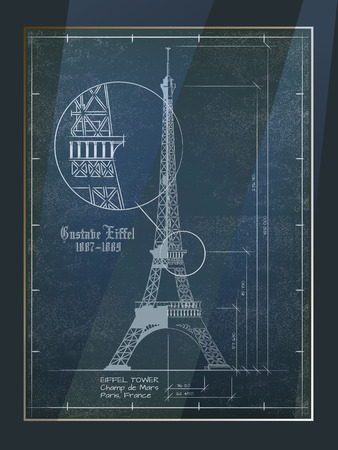 delineation: Eiffel Tower. Old Architectural Blueprint Drawing In Frame