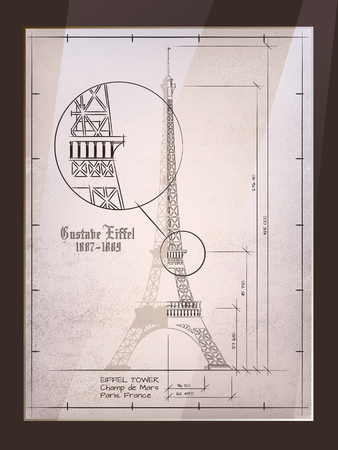 delineation: Eiffel Tower. Old Architectural Drawing In Frame
