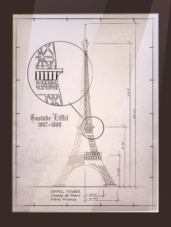 Torre Eiffel. Antiguo Dibujo Arquitectónico En Marco