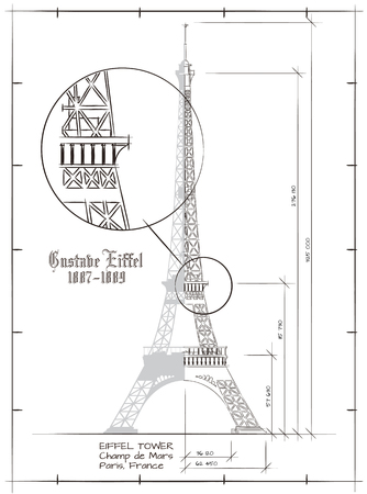 Architectural Technical Drawing of Eiffel Tower Vintage Style Stok Fotoğraf - 53103249