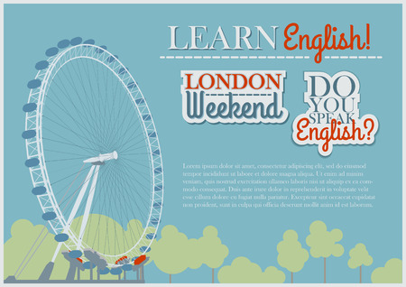 london eye: English Template Background With London Eye View Illustration