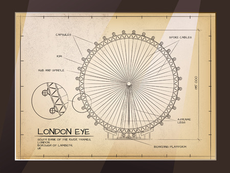 london eye: Architectural Old Technical Drawing of London Eye - Millennium Wheel