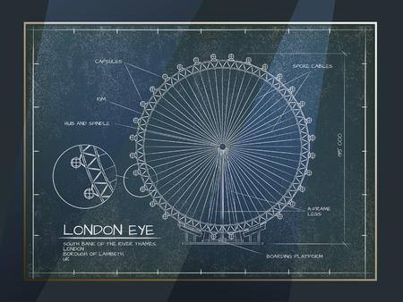 millennium wheel: Architectural Old Technical Drawing of London Eye - Millennium Wheel