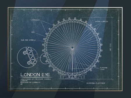 Architectural Old Technical Drawing of London Eye - Millennium Wheel