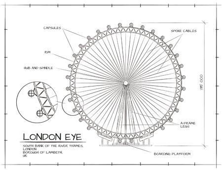 Architecturale Technische tekening van de London Eye Millennium Wheel Stockfoto - 53103253
