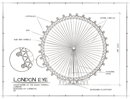 Architektonische Technische Zeichnung von London Eye Millennium Wheel