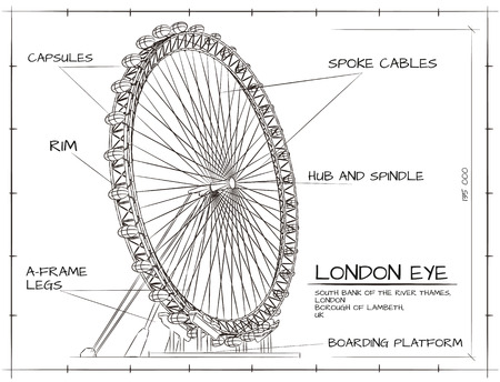 Architectural  Technical Drawing of London Eye Millennium Wheel