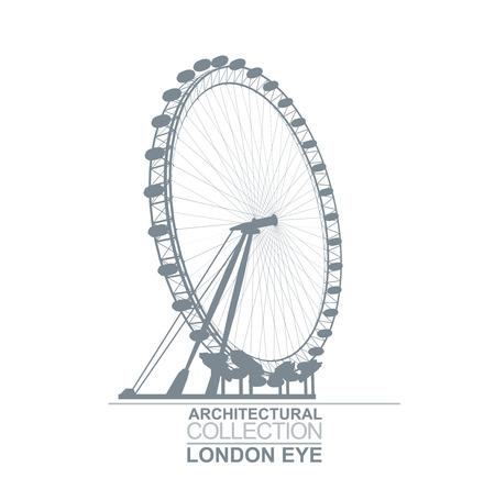 Detail Quality London Eye Wheel View Silhouette
