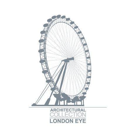 Detail Quality London Eye Wheel View Silhouette