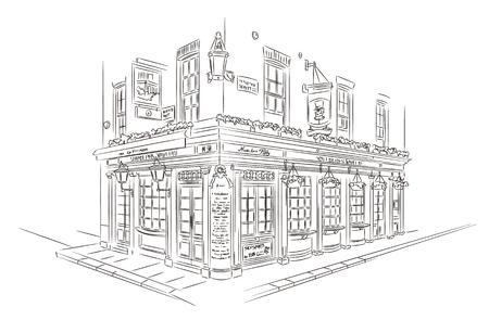 boceto: Estilo de dibujo. Pub, Londres