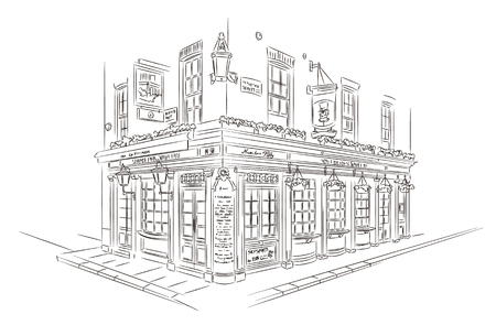 Style Sketch. Pub, London Illustration