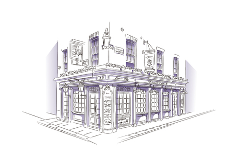 old houses: Style Sketch. Pub, London Illustration