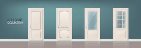 Houten Deur Set. Fotorealistische Deuren voor web, print, Interiors Ontwerp Vector Illustratie