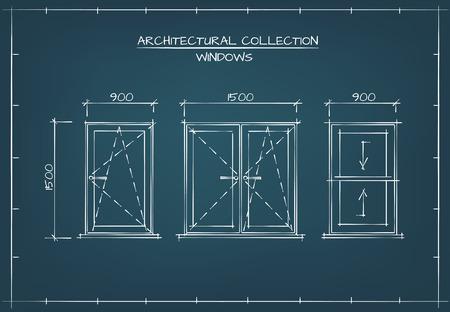Architectural Windows Set. Technische tekening, Blauwdruk Style.