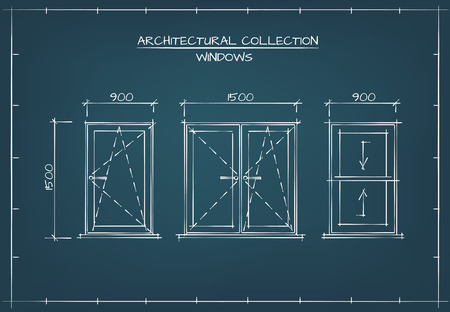 Architectural Windows Set. Technical Drawing, Blueprint Style. Vectores
