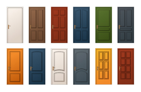 12 Colorful Wooden Doors. Templates Collection for Web, Print and Architectural Drawings