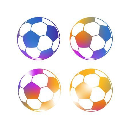 soccer balls: Set of Bright Colorful Isolated Classic Soccer Balls