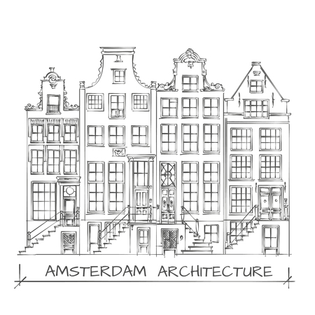 dutch landmark: Hand Drawn Detail Amsterdam Architecture Drawing. Black on White Illustration