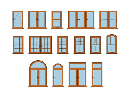 techical: 50 Vector Windows Set. Big Interior Windows Design Collection Illustration