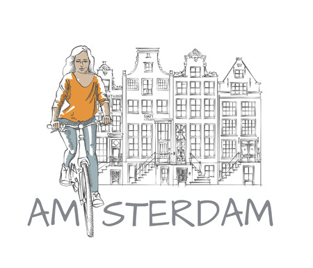 dutch girl: Riding Young Woman at Amsterdam View Hand Drawn Sketch Illustration