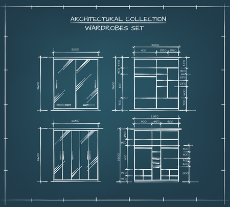 wardrobe closet: Architectural collection. Professional Set of Wardrobes And Closers Technical Drawings