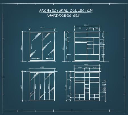 dibujo tecnico: conjunto arquitectónico. Juego profesional de Armarios y cierrapuertas Dibujos técnicos Vectores