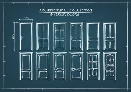 cerrar la puerta: Inter puse puertas. Dibujo Técnico, Estilo Blueprint. Vectores