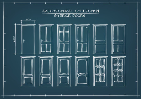 close: Interior Doors Set. Technical Drawing, Blueprint Style.