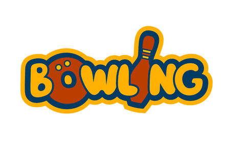 Bright Cartoon Bowling Sign Template for Identity, Card, Tag or Flyer Vettoriali