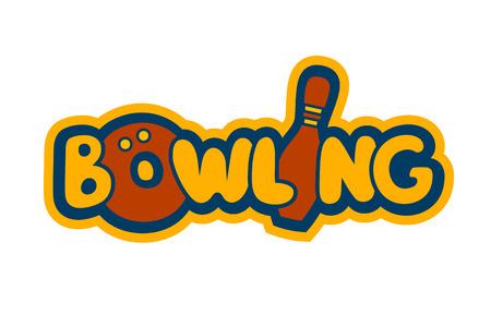 Helle Cartoon Bowling-Zeichen-Schablone für Identität, Karte, Umbau oder Flyer