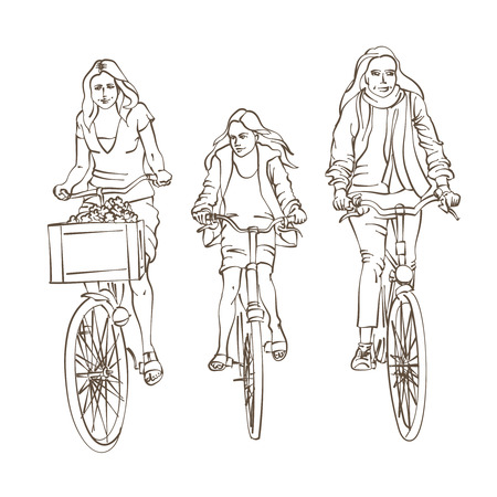 bicycling: Hand Drawn Sketch of a Happy Bicycling Family