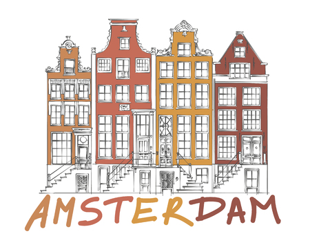 holland: Hand Drawn Detail Amsterdam Architecture Drawing. Colorful on White