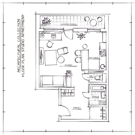 kitchen studio: Architectural Sketch Floor Plan.Studio Apartment