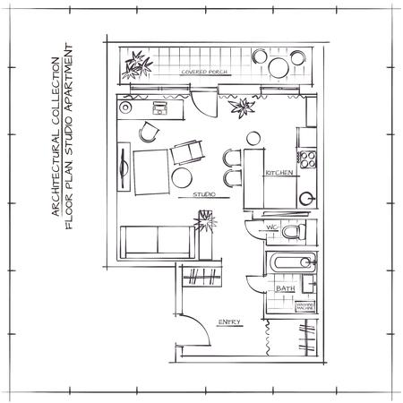 Architectural Sketch Floor Plan.Studio Apartment Vector