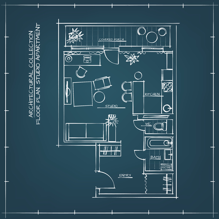 Architectural Blueprint Floor Plan.Studio Apartment