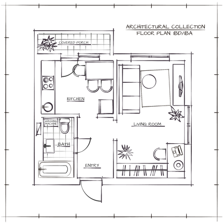 floorplan: Architectural Hand Drawn Floor Plan.One Bedroom Apartment