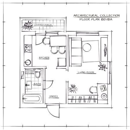 dibujo tecnico: Hand Drawn Planta arquitectónica Apartamento Plan.One Dormitorio