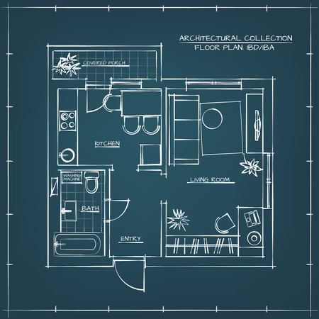 one bedroom: Architectural Hand Drawn Floor Plan.Blueprint. One Bedroom Apartment