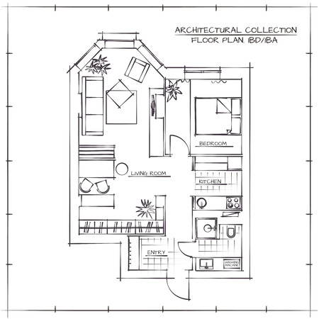 one bedroom: Architectural Floor Plan.Studio Apartment With One Bedroom Illustration
