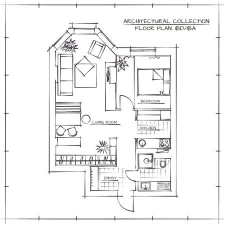 Architectural Plan.Studio étage appartement avec une chambre à coucher