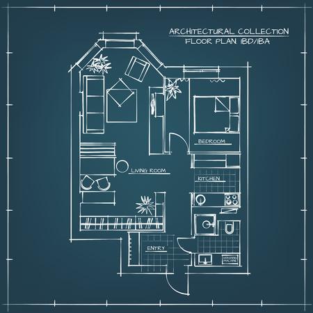 Architecturale Blauwdruk Floor Plan.Studio appartement met een slaapkamer Vector Illustratie