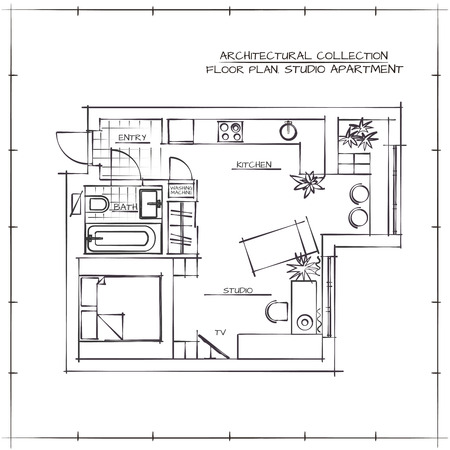 kitchen studio: Architectural Hand Drawn Floor Plan. Studio Apartment Illustration
